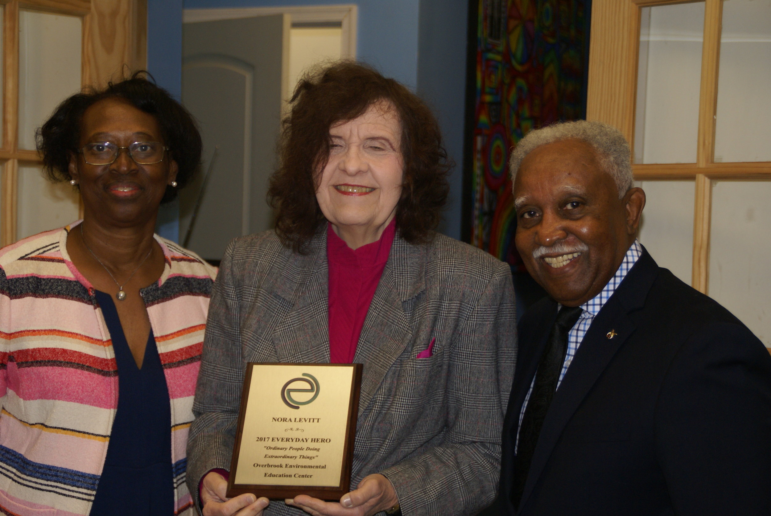 "President N. Levitt, with members of the Wynnefield Cultural Center Advisory Council, receiving the ""Everyday Hero award""."