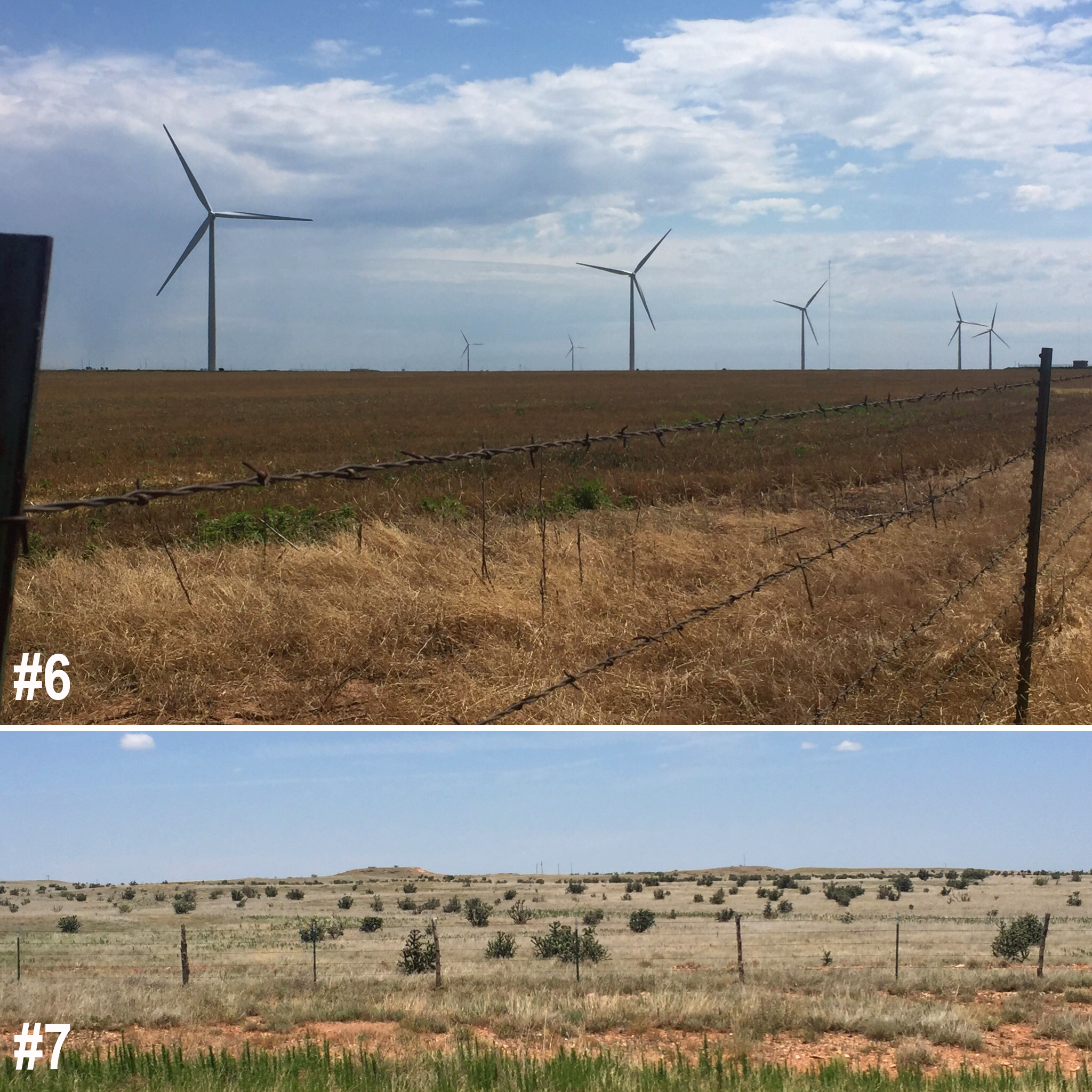 #6. Then I was on my own to listen to podcasts, reflect,and drive a few hundred miles.This picture pretty much sums up my experience in  Oklahoma.   #7. And then the terrain changed as I drove through the tip top square of  Texas.