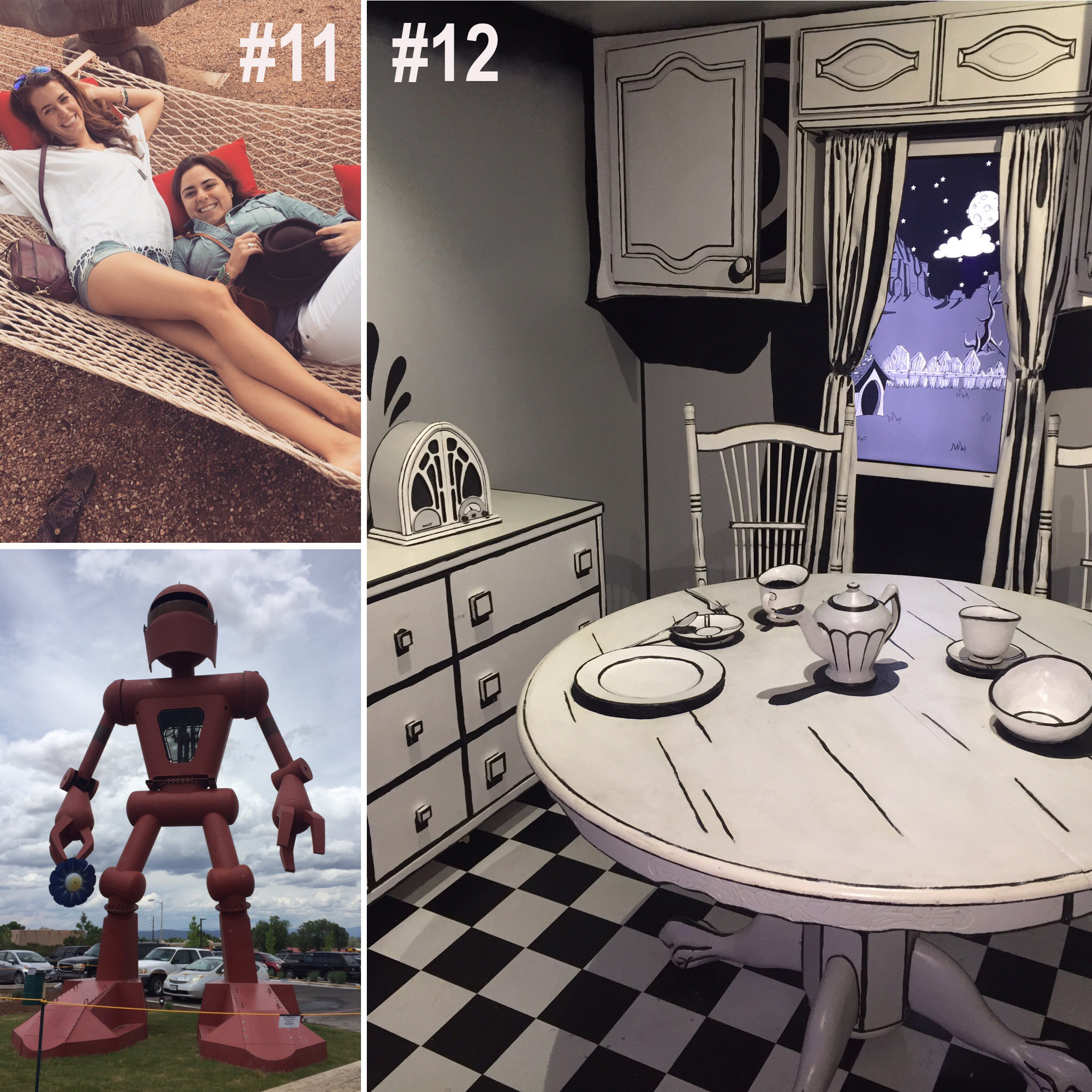 """#11. MY art school FRIEND DIANA AND I STAYED AT """"THE INN OF THE TURQUOISE BEAR"""" IN  SANTA FE, New mexico .  #12. THEN WE WENT TO A HUGE INSTALLATION ART PIECE CALLED """"meow wolf"""""""