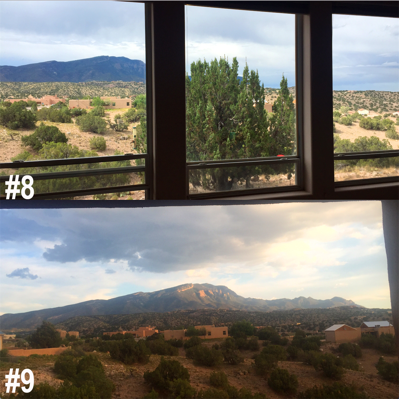 #8.I stayed with a brilliant scientist yogini and her psychologist husband in  Albuquerque, New Mexico.   #9. These were the views from their windows. Their house was on a desert mountain. It felt like another world looking out while discussing psychology over New Mexican food.