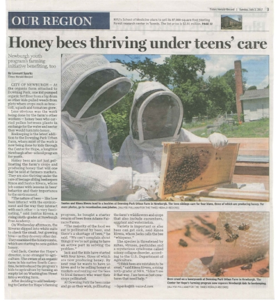 Downing Park Urban Farm in the News  - Rinoa and Santos Rivera and Carl Jack are featured in this article:http://www.recordonline.com/news/20170701/newburghs-center-for-hope-adds-beekeeping-to-farm-program