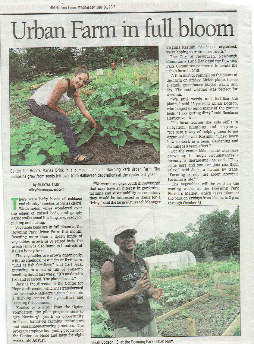 Getting ready for Downing Park Farmers Market August 5 - Elijah Dobson,Marisa Brink, and Carl Jack in the Mid-Hudson Times talking up the Downing Park Farmers Market, every Saturday at Third and Carptenter  10-3.