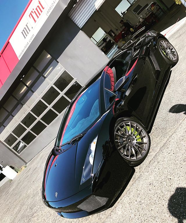 Last look before sending this baby back to its owner . . . .  #mrtint #mistertint #norcal #caraddict #windowtint #clearbra #ceramicpro #xpel #lambo #gallardosuperleggera