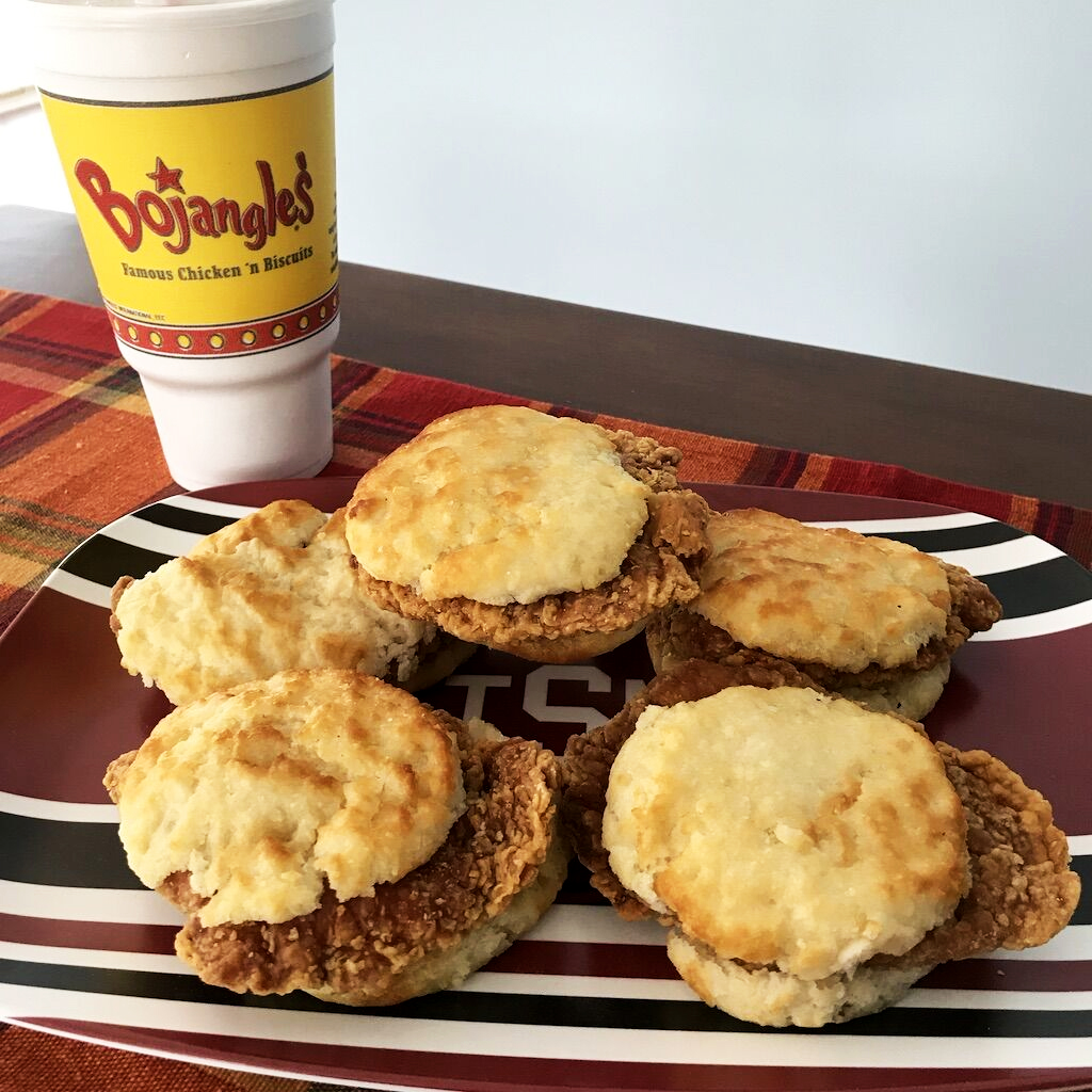 Chicken Biscuits from Bojangles' served on a  Laurie Louis Tailgate Platter