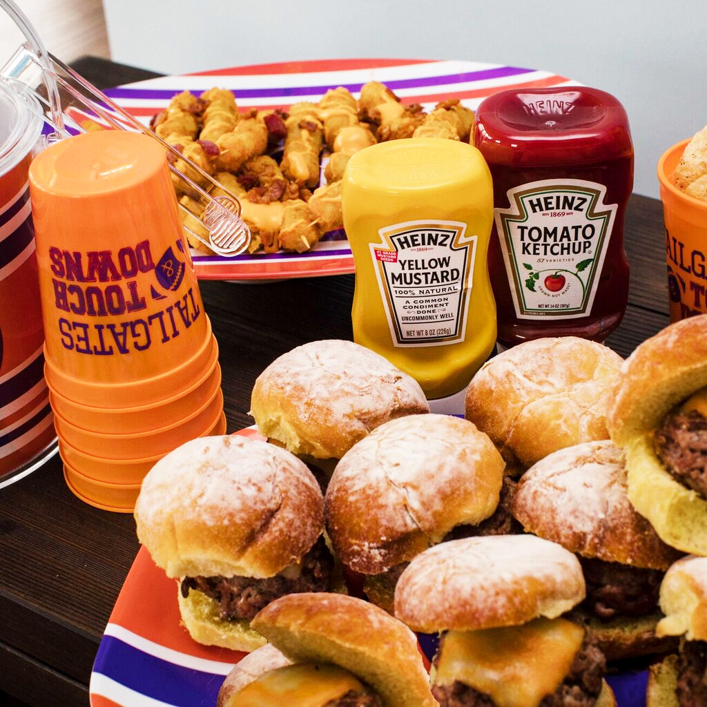 Delicious sliders taste better when served up on personalized tailgate platters