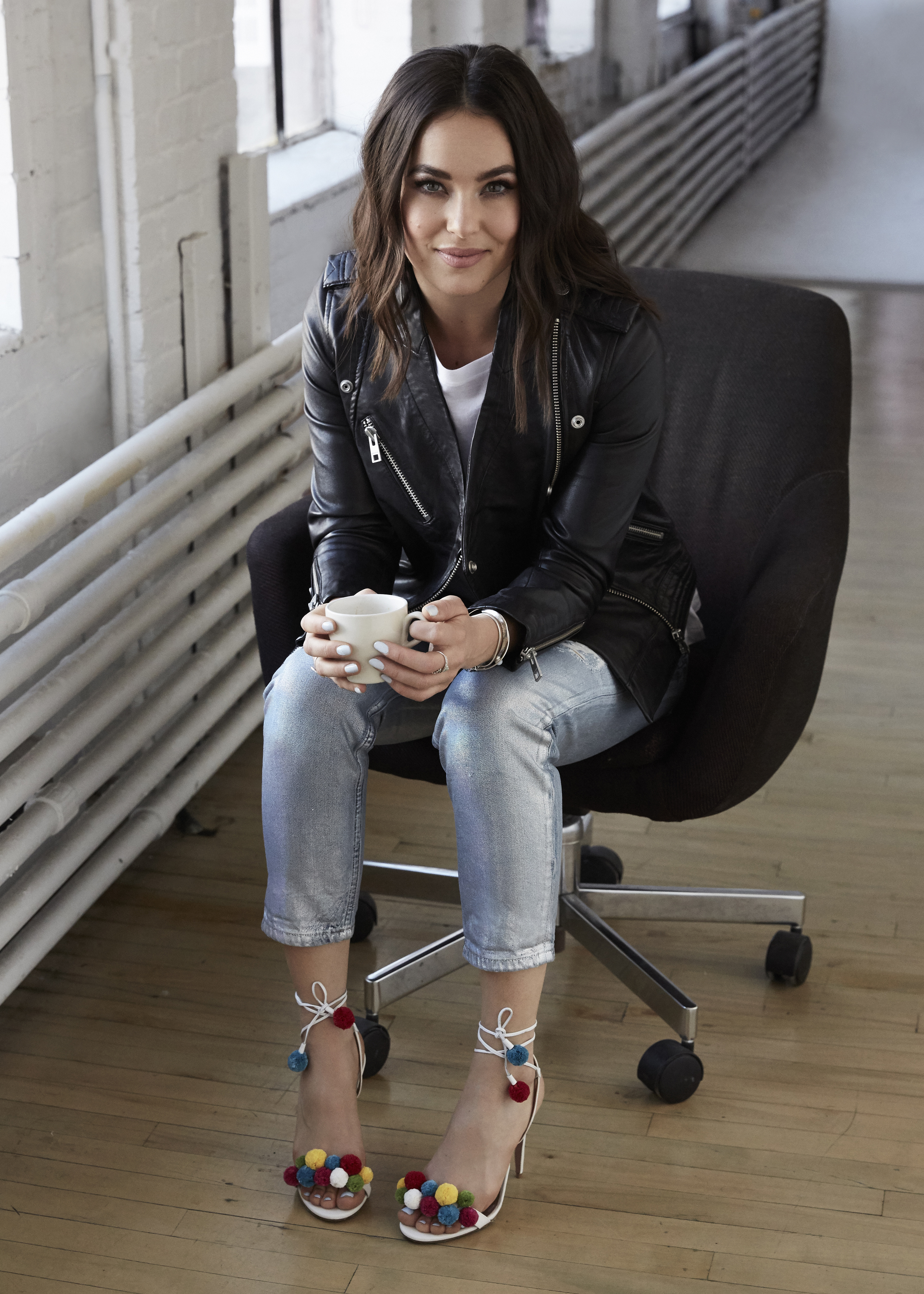 Favorite look of April! The metallic jeans, pom-pom shoes, classic leather and of course the best accessory, COFFEE.