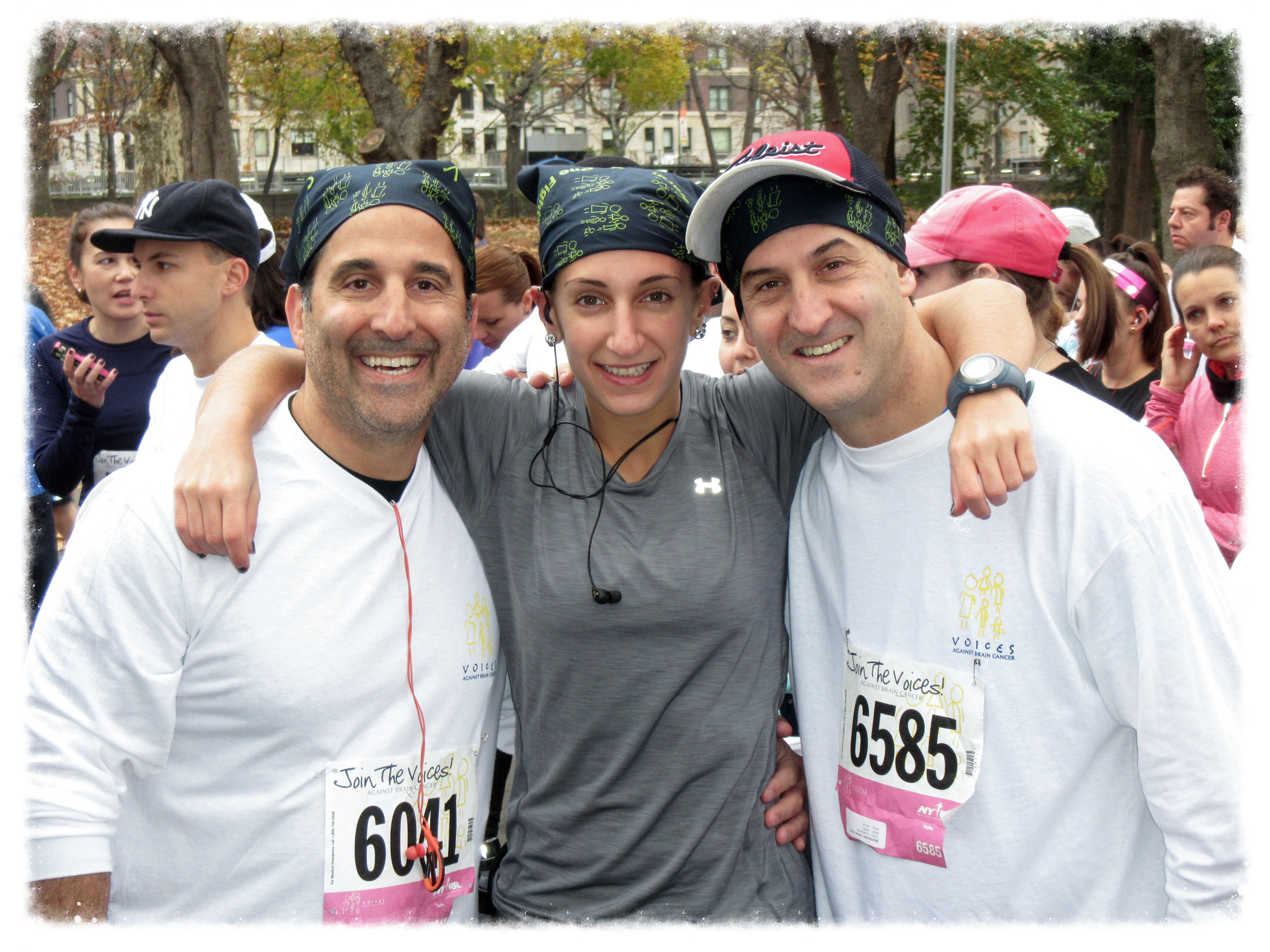 Steven, Allison and David run to support Voices Against Brain Cancer in Central Park.