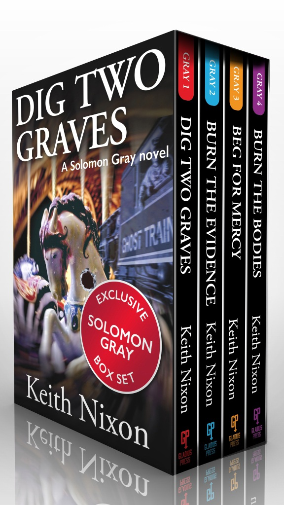 Solomon Gray… - Dig Two Graves Detective Sergeant Solomon Gray is driven to discover the truth. Whatever the personal cost.When teenager Nick Buckingham tumbles from the fifth floor of an apartment block, Detective Sergeant Solomon Gray answers the call with a sick feeling in his stomach. The victim was just a kid, the exact age the detective's son was, the son Gray has not seen since he went missing ten years ago.Burn The Evidence Mixing business with family can be a murderous affair ...Gray's investigation points to a deadly fire ten years ago. How are the dead men connected to each other – and to the infamous fire? Beg For Mercy Two men fight to prove their innocence. A cop and a convicted murderer. One of them is lying.Fifteen years ago, local crime boss Duncan Usher was sent to prison for killing his wife. A young Detective Solomon Gray was first at the scene and instrumental in putting Usher away. But now Usher is out, released on a technicality.Bury The Bodies A missing son, a web of lies, a murder covered up.Solomon Gray is on the trail of a bent cop, Lewis Strang, who appears connected to the disappearance of his son years ago. As Gray investigates he discovers the truth about Tom and who took him. A truth that is even more shocking than Gray ever expected…GET ALL FOUR BOOKS FOR A DISCOUNTED PRICE.ONLY £8.99 / $9.99.