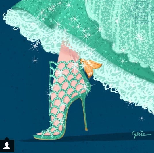 Ariel would, of course, wear these sparkly cage booties by Sergio Rossi