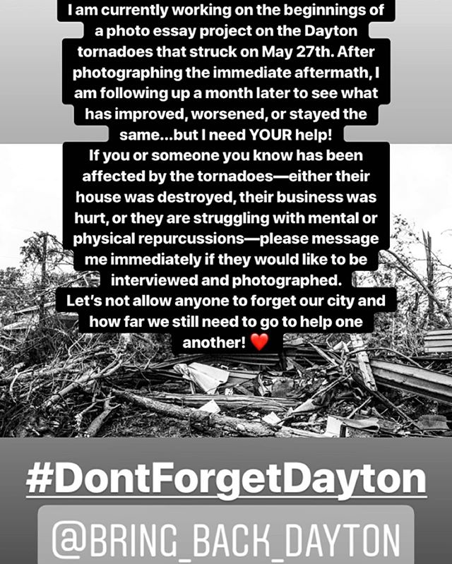 FYI...Disaster Relief = Mental Health Relief 🧠 I am focusing on photographing people (including but not limited to): * Working on mental/physical health after the tornadoes. * Rebuilding home or business as a result of the tornadoes. * Working with animal rights groups to save pets/abandoned animals from the tornadoes. * People either choosing to stay in Dayton or leaving their houses (if houses are set to be demolished). * Politicians, council members, etc. working to help. * Anyone else directly affected by the tornadoes and willing to be photographed to share their story. #messageme #tornado #dayton #ohio #midwest #daytontornado #news #photography #project #photoessay #nppa #photojournalism #photojournalist #femalephotographer #girlgaze #dontforgetdayton #daytonstrong