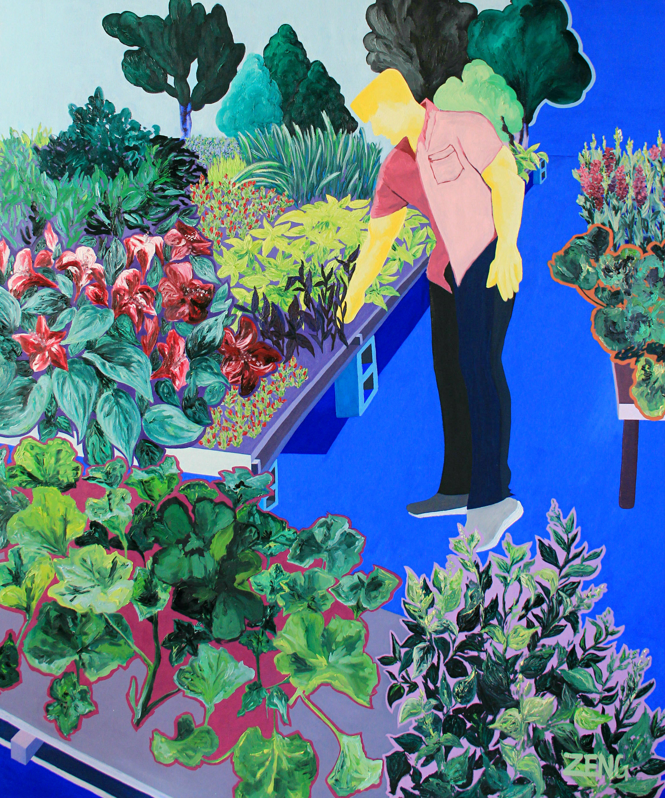 I Shouldn't Be Here - 72 x 60 in., oil on stretched canvas2018This work captures a candid moment observed by the artist of her husband contemplating choices at a plant nursery for their garden. In his gentle touch, the reality of what strength and masculinity can look like becomes vividly clear. The scene exists in opposition not only to strict ideas of gender but also to the figure's own personal struggle with his ongoing existence as a cancer survivor. The marital relationship between the artist and her husband is shown through the notion of shared assets ‒ the figure's yellow skin is the color typically cast onto the artist's Asian identity.