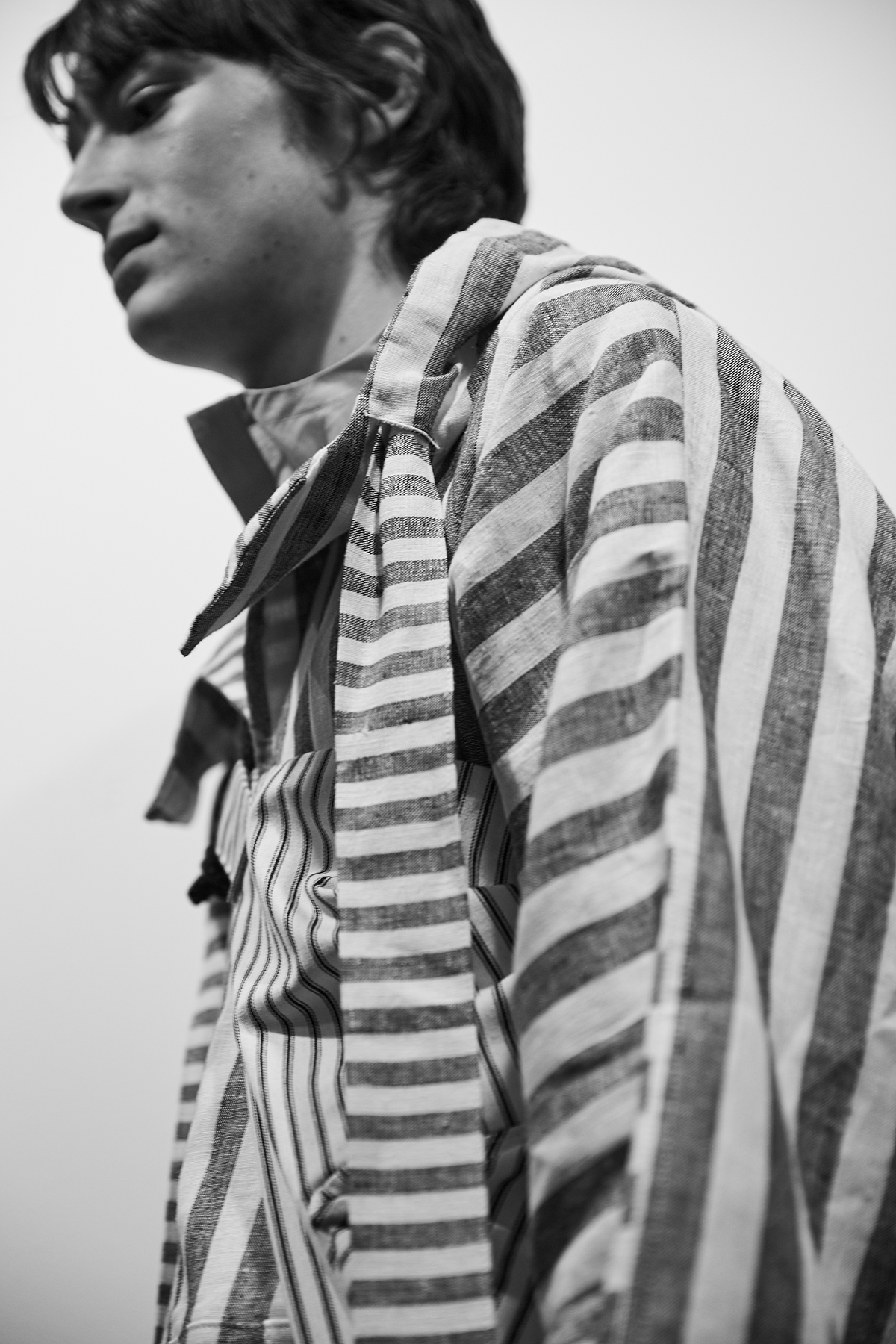 Phoebe English London Collections Men SS17 blue and white striped jacket.png