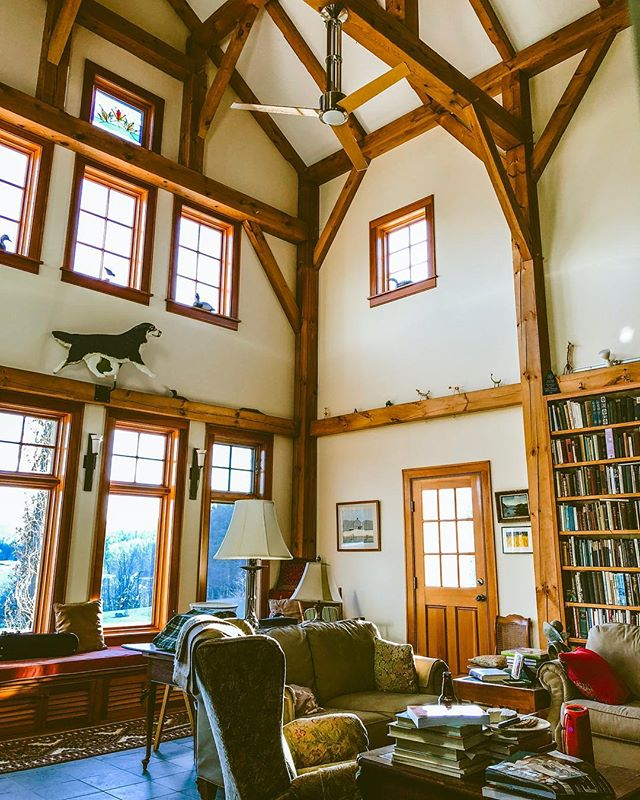 Bright, sunny day in the Great Room at my Dad and step-mom's home in Vermont and @tetherloopfarm HQ.