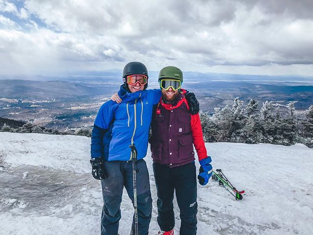 Atop the mountain with Lake Champlain in the background. Friends. @sugarbush_vt @borealis_studios @redfitz