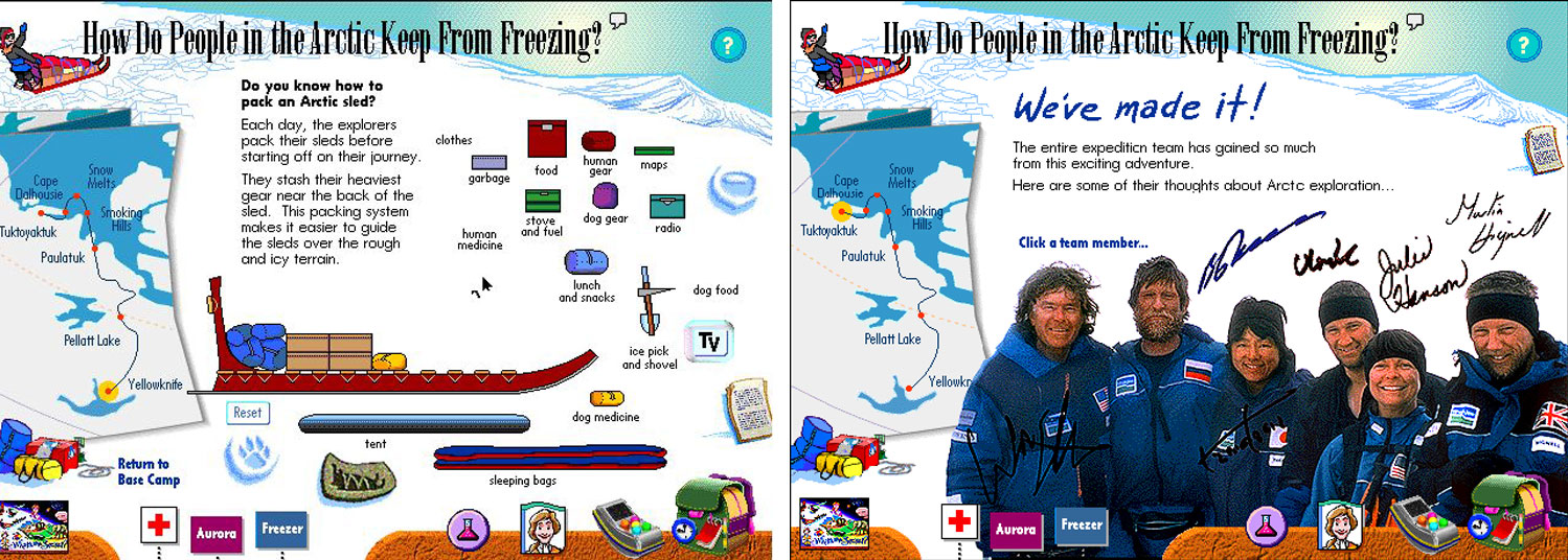 Travel to the Arctic with Will Steger and his team. Learn how to pack a dog sled. Understand the problems they faced.