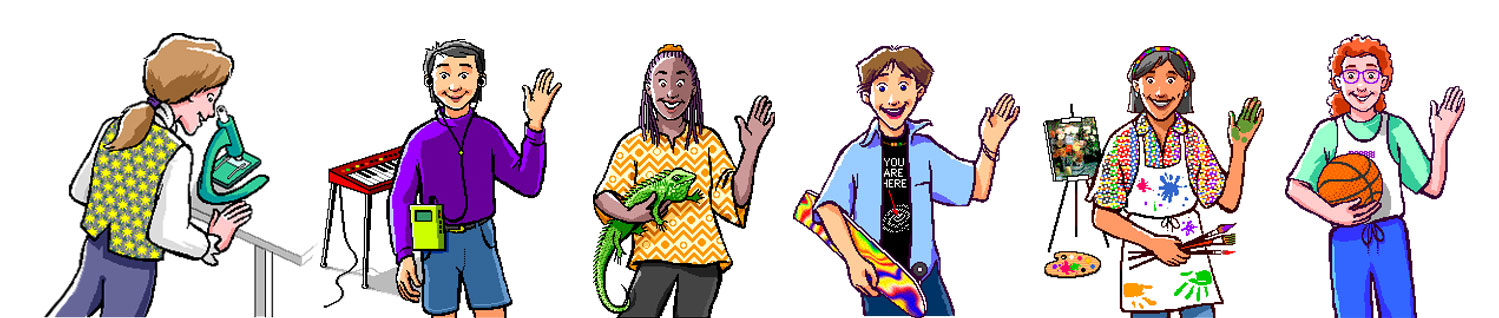 Connect with Newt (a young Isaac Newton) and his friends as you travel through the interactions. They join you to guide, react, and have fun!
