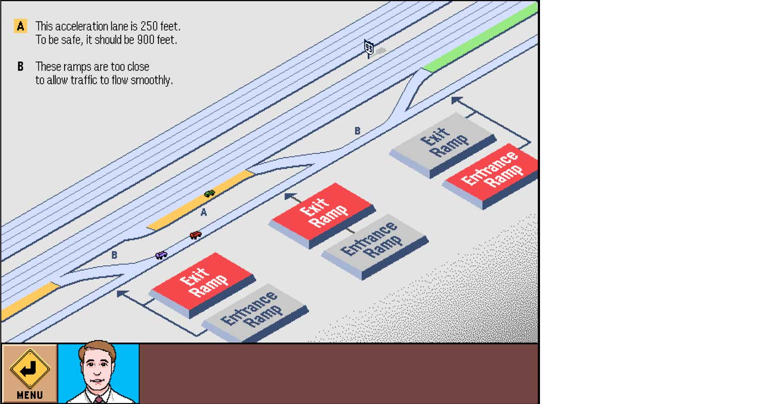 Design the entrance and exit ramps of a freeway.