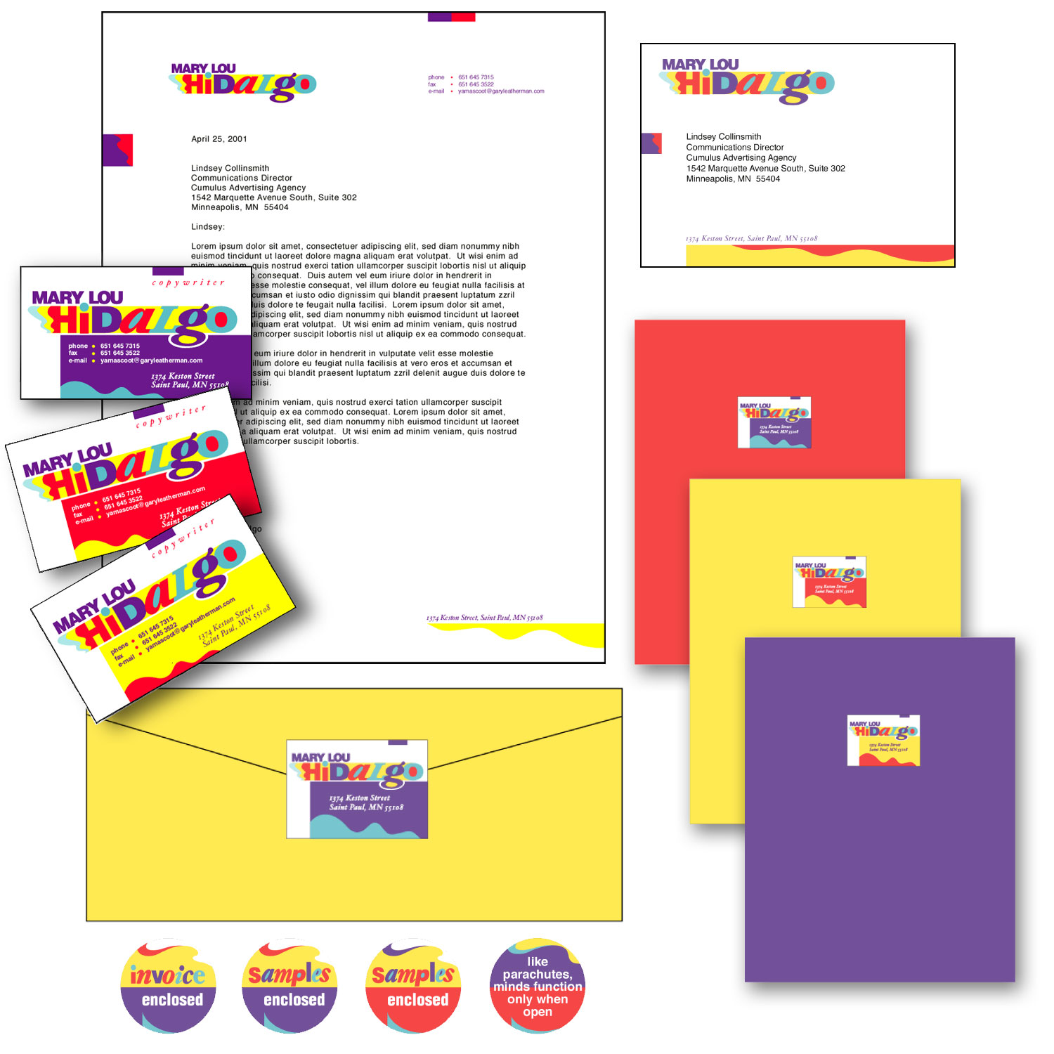 Identity System  Mary Lou Hildalgo     Mary Lou is a successful copywriter and content strategist. Her clients describe her as fun, fantabulous, creative, full of enthusiasm, a great thinker, and a true gem. I collaborated with Mary Lou to find a way to reflect her positive and colorful view of life in her identity materials. __________