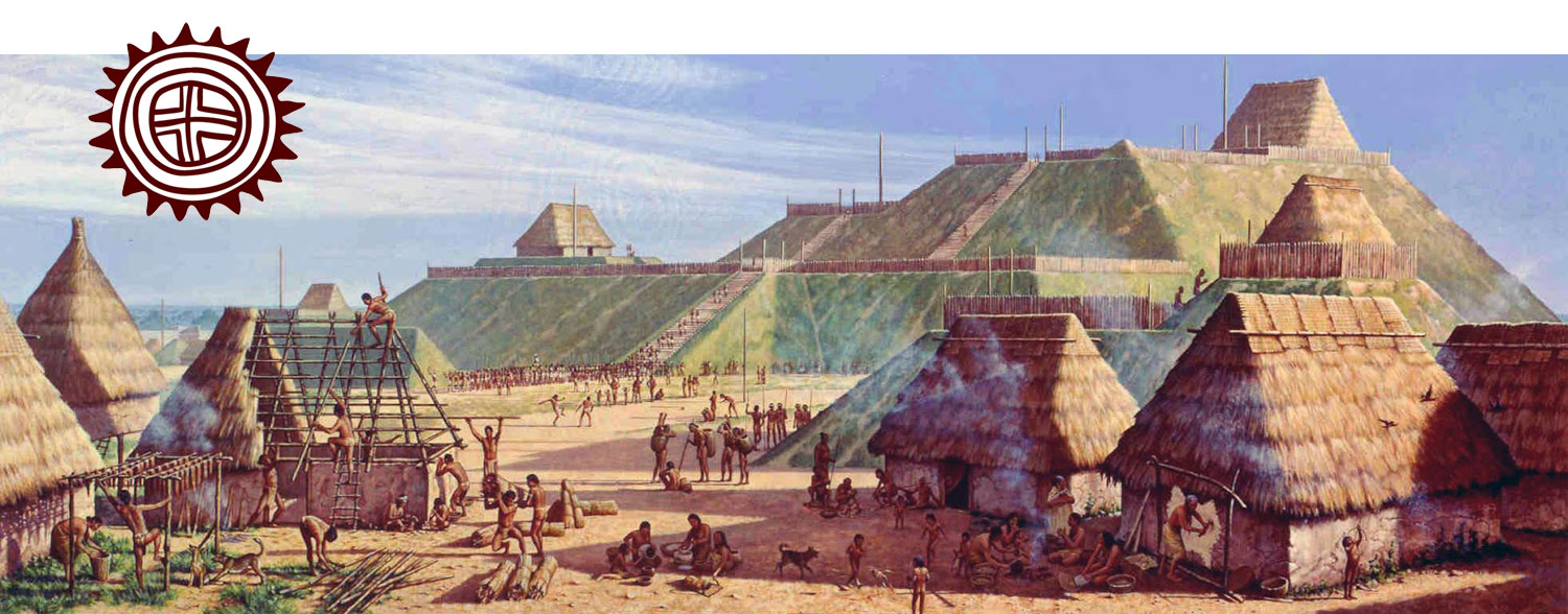 """From 900 to 1300 AD, Cahokia was the trading and cultural center of North America. It was a city of about 20,000 people, larger than the city of London at that time. Its people traded goods and materials across the continent, and built monumental mounds that still exist today.    The Cahokia Mounds Museum was built at the city'shistorical site just east of present-day Saint Louis. As part of a team with Donna Lawrence Productions, I designed """"City of the Sun"""", a 13-projector, multimedia show to introduce Cahokia and its people. The show has received multiple gold medals in national film festivals, including the 33rd Annual New York Film Festival."""