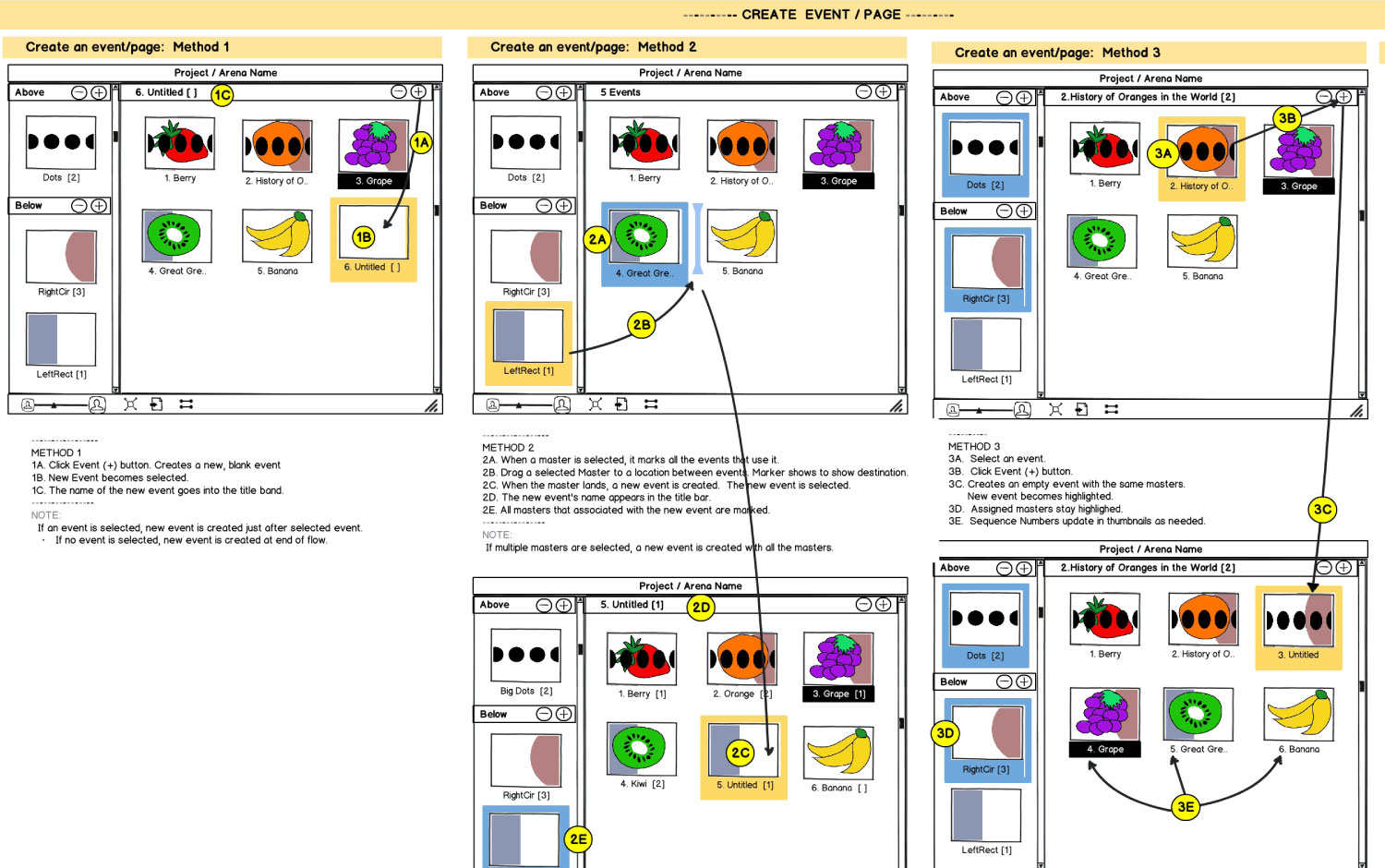 I used multiple tools to design interactions and prototypes. This example shows a concept created with Balsamiq Mockups.