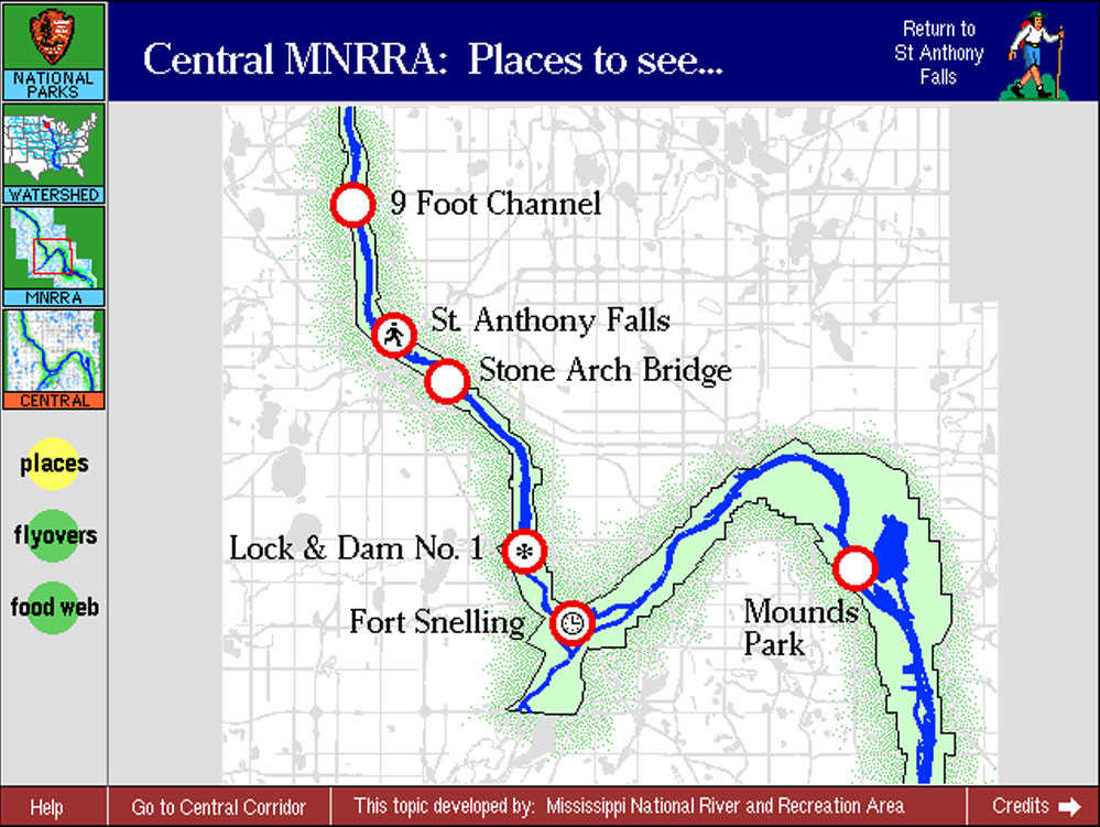 MNRRA coordinates environmental education with public and private organizations along the Mississippi River. They asked us to create a public kiosk-based interaction that reflected their unique situation.