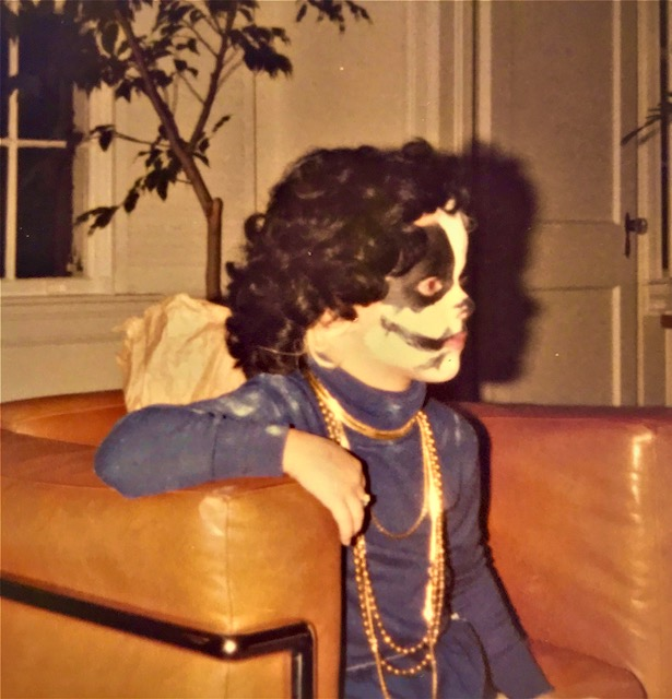 Dressed up as KISS band member Peter Criss.