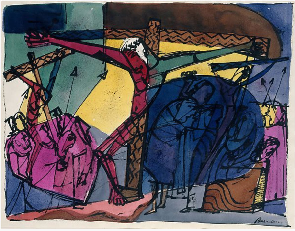 Golgotha; Romare Bearden, 1945, watercolor, ink, and graphite on paper; The Met, New York.