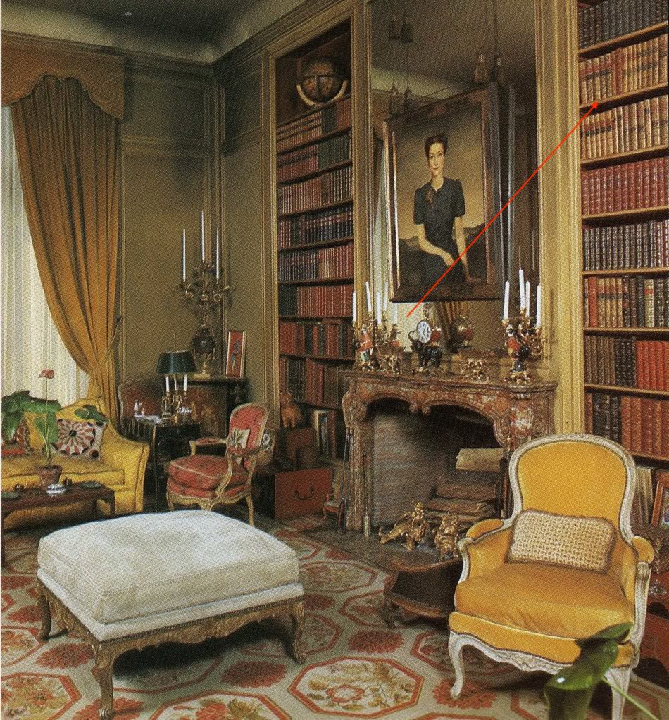 The library at Villa Windsor. Our books would appear to be the leftmost volumes on the top visible right-hand shelf (out of order: Peru, Mexico, Peru, Mexico, Mexico).