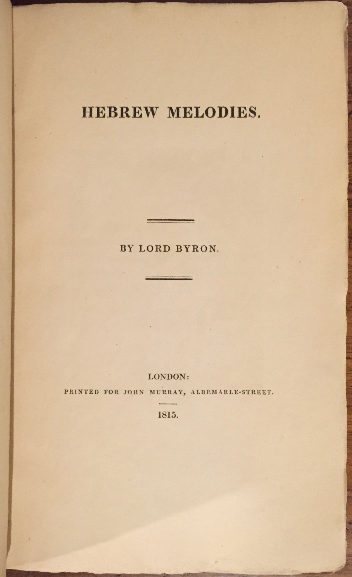 Byron. Hebrew Melodies. First