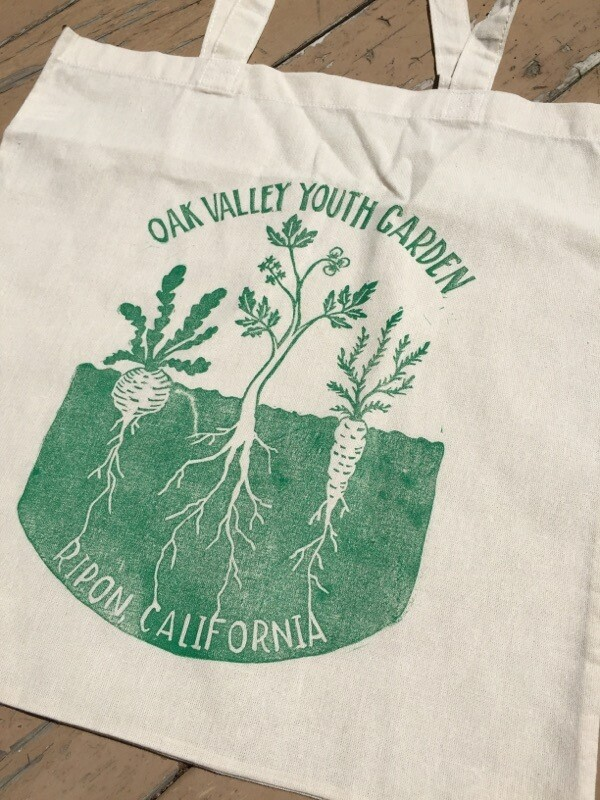 Oak Valley Market Tote bag. Locally designed and handprinted by Lovely Woods Press.