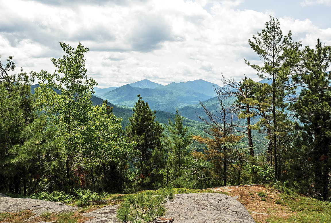 Noonmark and Dix mountains from lunch spot near summit of Baxter Mountain.  Alan Via