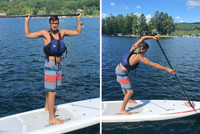 "Hunter Brown of Lake George Kayak Co. demonstrates the proper grip and ""catch.""  Lake George Kayak"