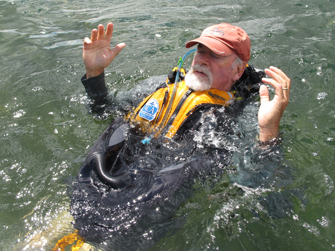 A good life jacket will float you, even with hands in the air. Demoed by instructor Mike Cavanaugh of North River Kayaks.  Alan Mapes