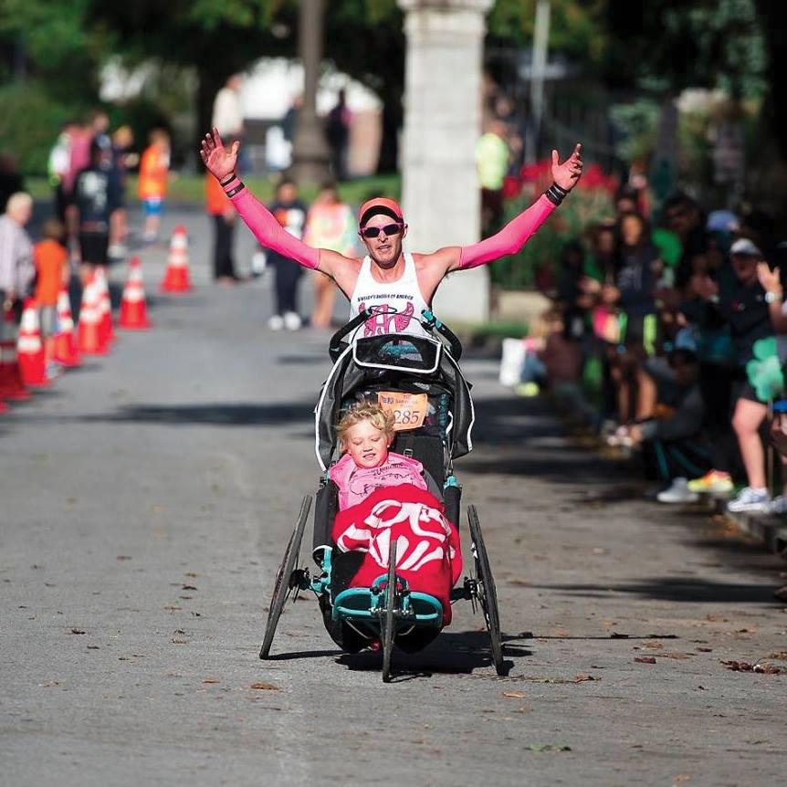 Shaun and Shamus Evans finishing the 2015 Saratoga Palio Half Marathon on Sept. 20.  Jean D'Andrea/Griffin Photography