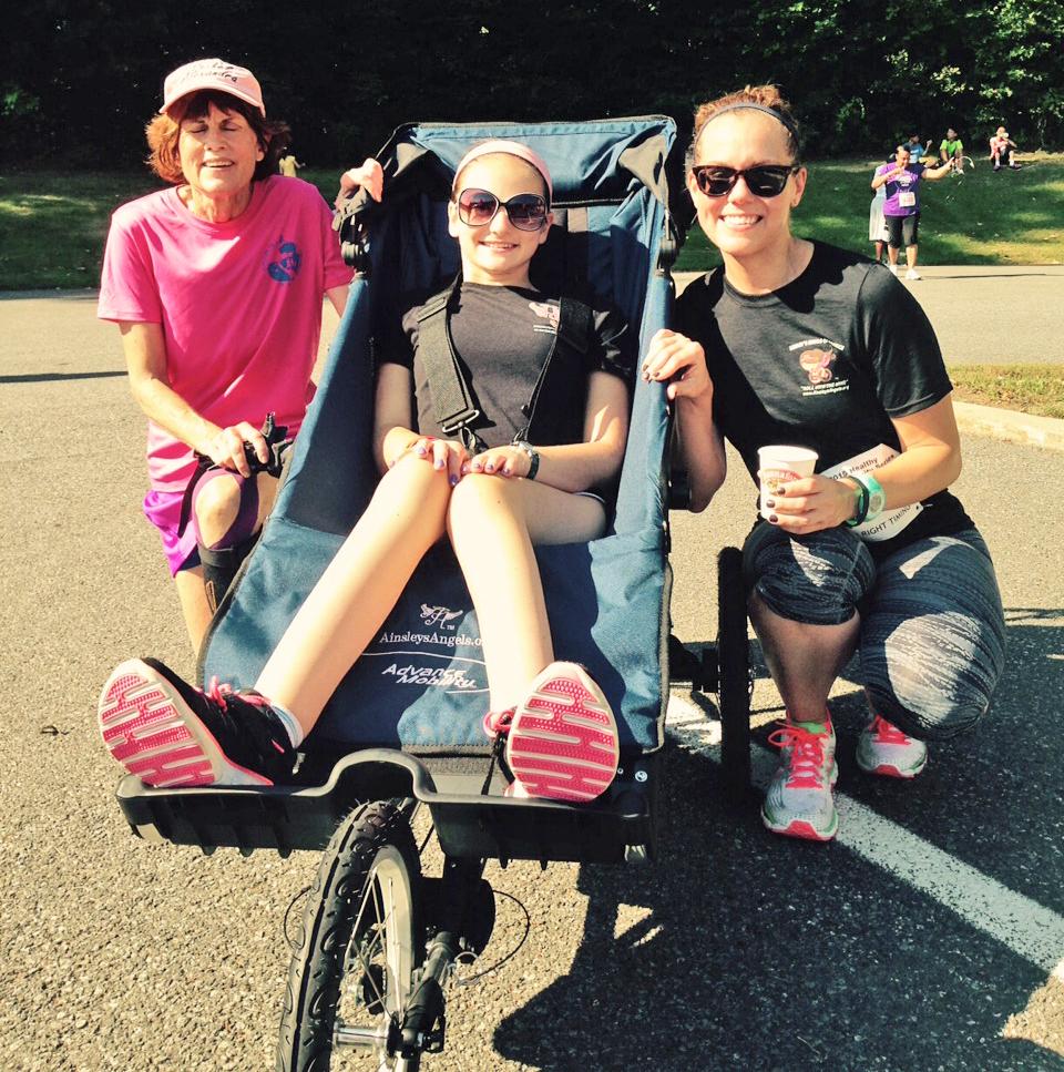 Newbie pushers Laura Clark and Kristen Zielinski with Lauren Szczepaniak at the Brenda Deer 5K.  Jill Burwell