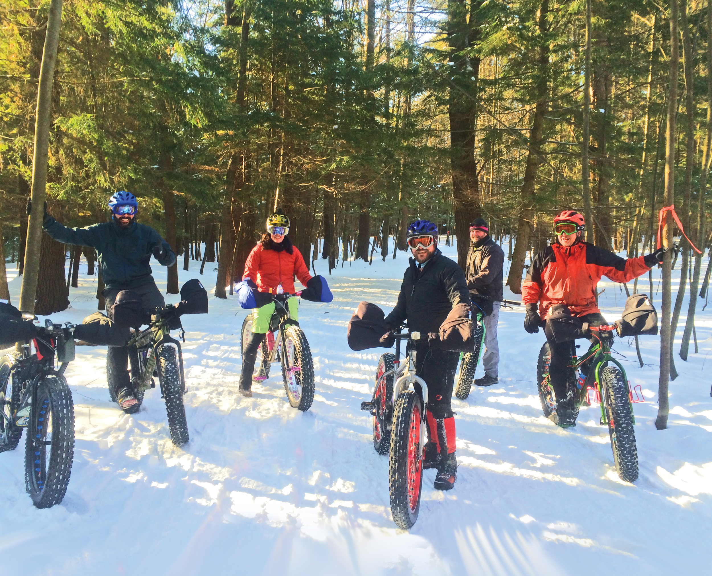 More smiles per mile: fat biking in the snow with friends at Saratoga Spa State Park in January 2015 – Jim Adams (Saratoga Springs), Janay Camp (Malta), Jesse Vollick (Rensselaer), Michael Feldman (Benson) and Anthony Ferradino (Schuylerville).  Photo by Shawne Camp