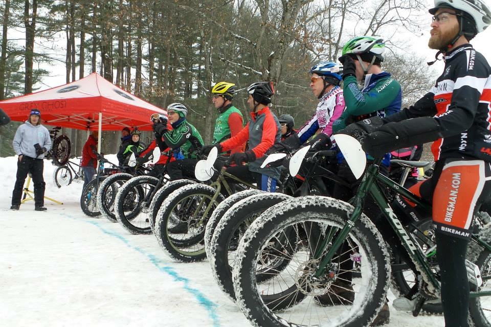 The start line for the first annual Saratoga Fat Bike Rally race held in February 2015.  Janay Camp