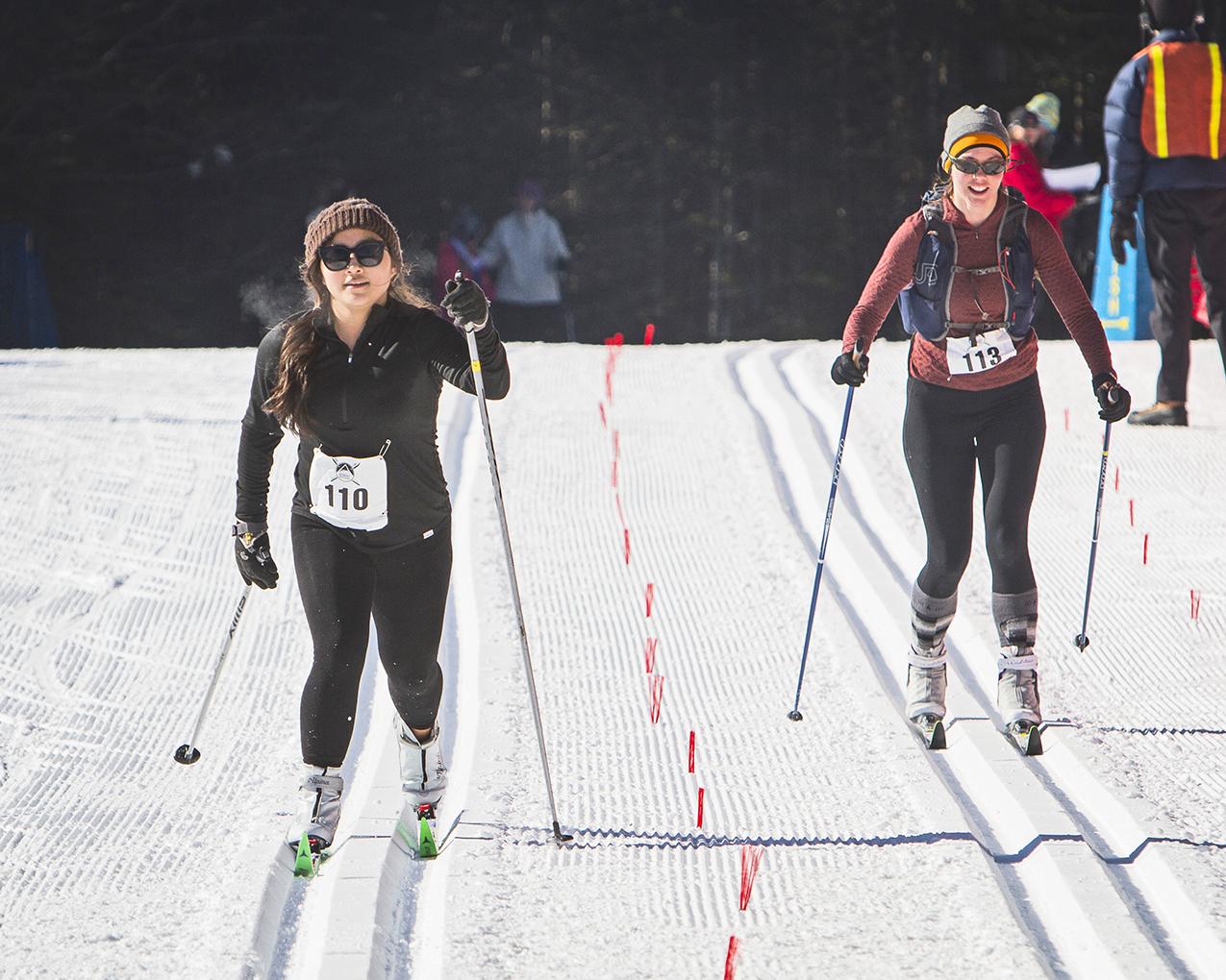 Skate (top)and classic skiers (above)  in the 2015 Lake Placid   Nordic Festival 12.5K Ski   Challenge at Mt. Van   Hoevenberg.  ORDA