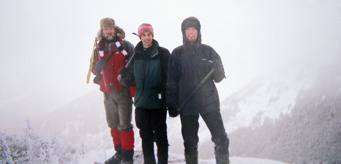 Pete Buccinna, center, and friends Brian Merriam, left, and Brian's son Tyler pose on the summit of Saddleback Mountain on January 16, 2007. Only a few hours later their trip would turn into a struggle for survival.   Matt Stoker