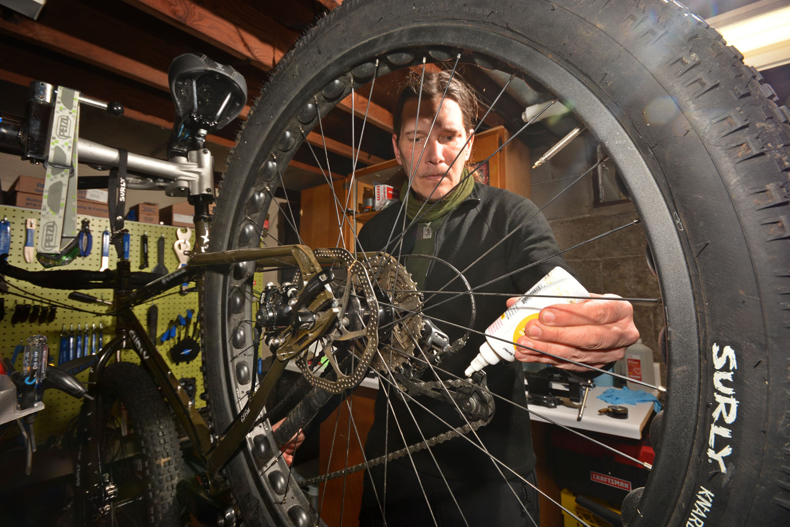 Shawne Camp  of Spa City Bicycleworks in Saratoga Springs doing a tune-up.  Dave Kraus