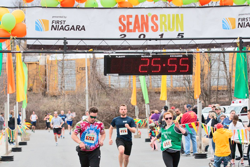 2015 Sean's Run 5K finishers Spencer Winters of Hillsdale, Oliver Noll of Millrift, PA, and Julie Danylielo of Pittsfield, MA.    Doug Stalker