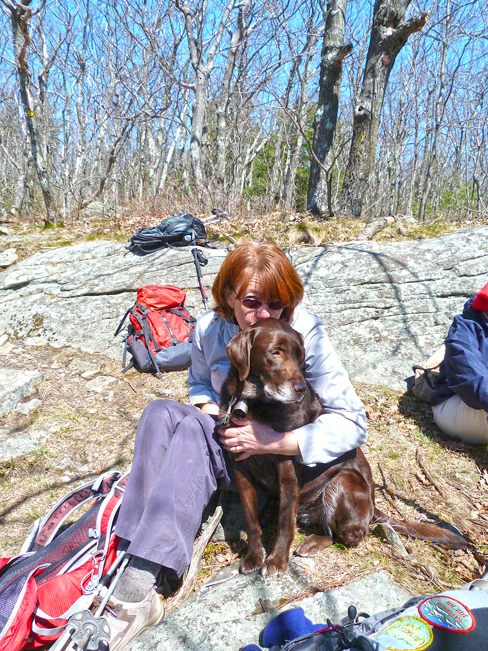 Barbara and Bookah on summit of Huckleberry Point in the Catskills.