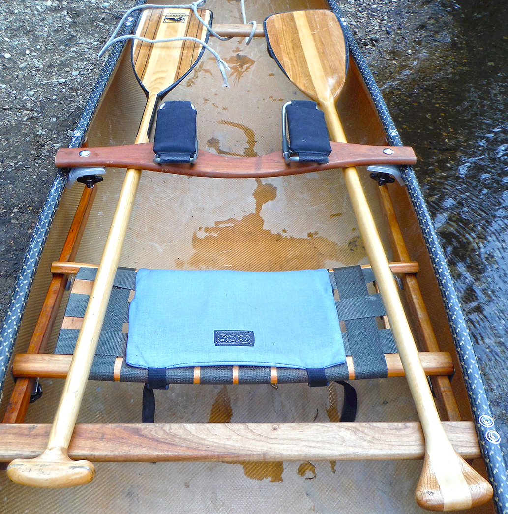 My preferred solo canoe carry set-up with padded clamp-on yoke.  Rich Macha