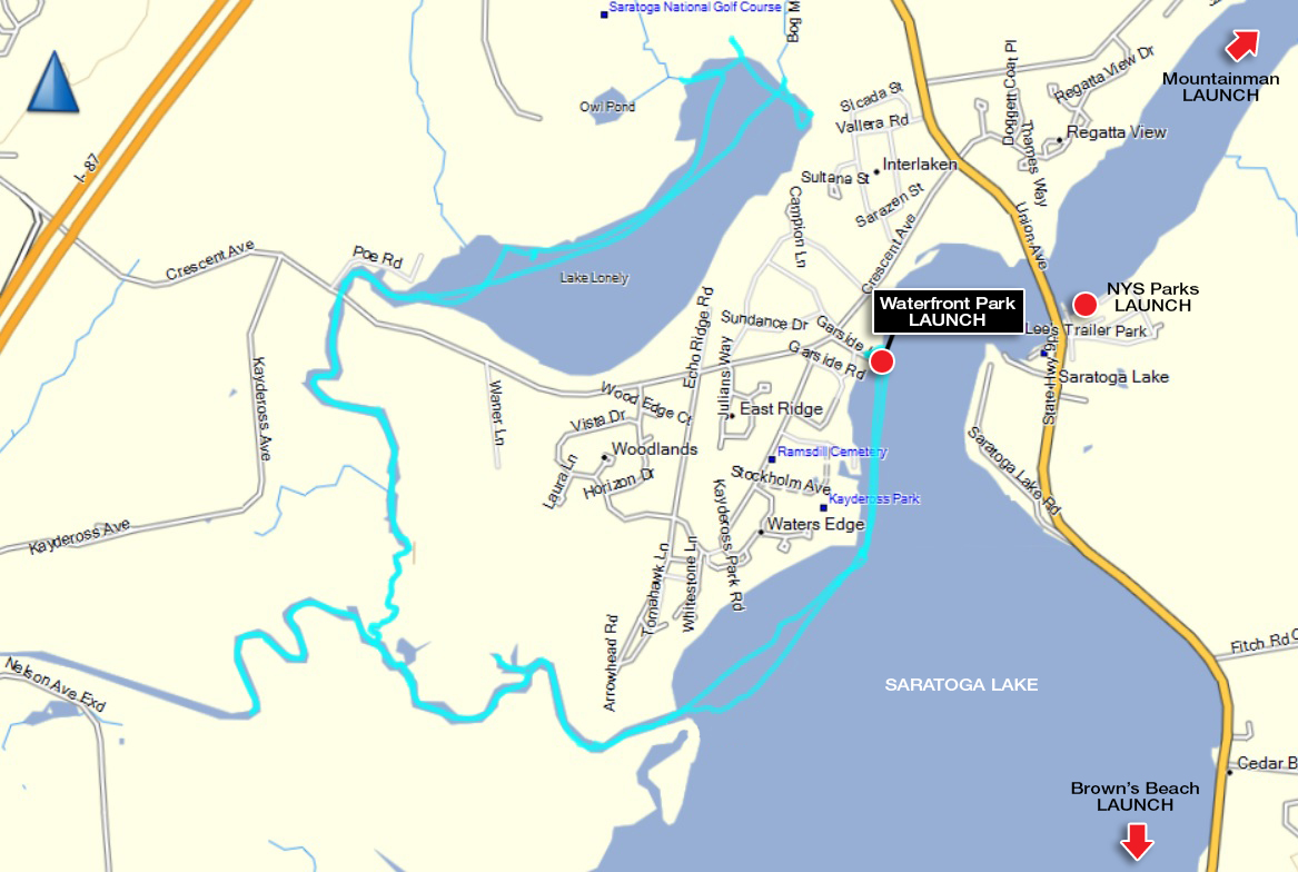 Alan's GPS track from an 11 mile paddle from Waterfront Park at Garside Lane on Saratoga Lake.