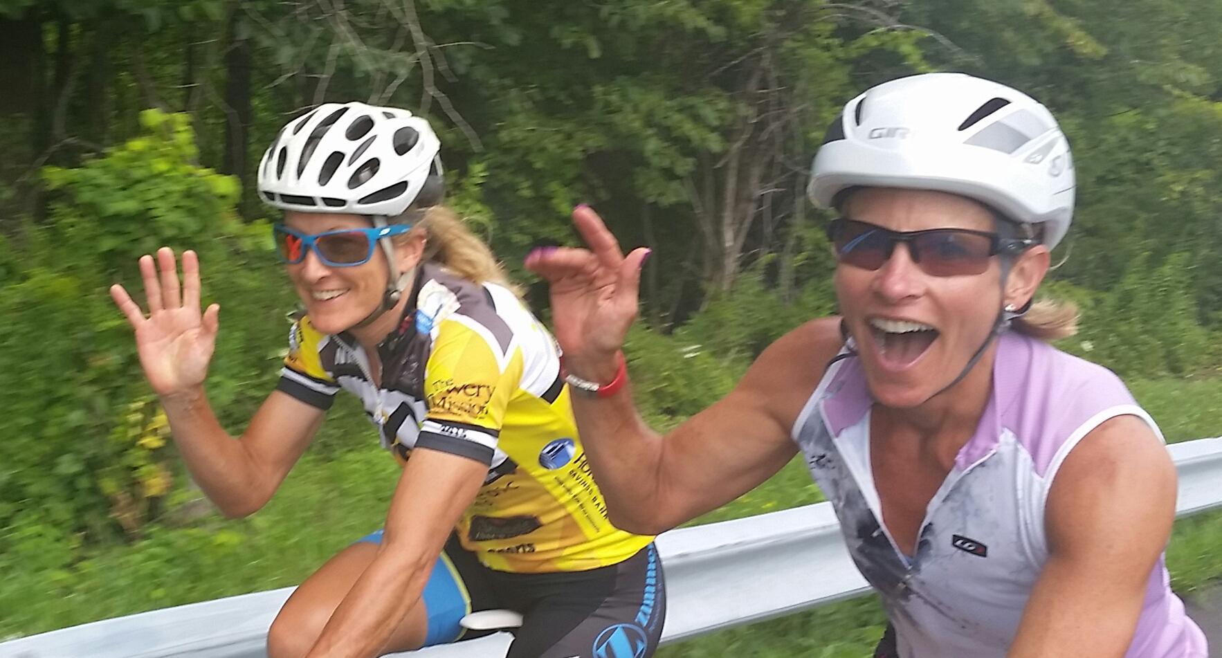 Beth Ruiz and Fran Vincent, both of Delmar, making a training ride fun.  Andy Ruiz