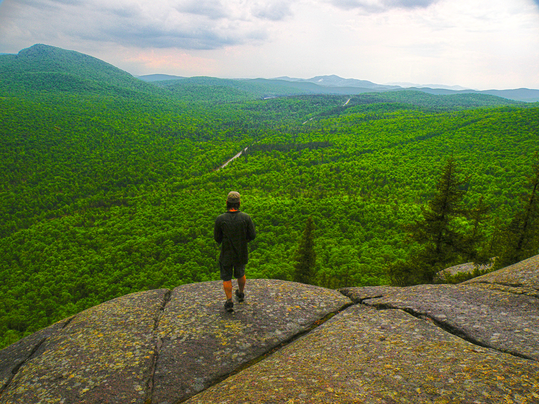 Open ledges at the southern end of Ragged mountain offer outstanding views of the Hoffman Notch Wilderness.  Bill Ingersoll