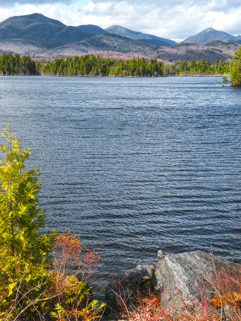 View of the Great Range, including Mount Marcy, from the dam that creates Boreas Ponds.  Bill Ingersoll