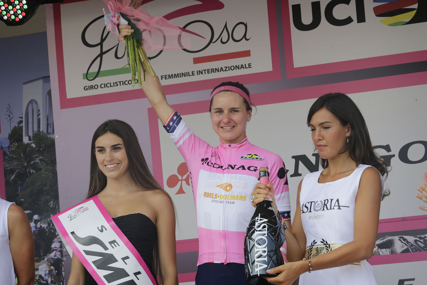 "Megan came close to winning Italy's Giro Rosa last year and was determined to bring home the ""maglia rosa"" in 2016. It was mission accomplished as she became the second American to win the longest race on the women's cycling calendar.   Cor Vos"