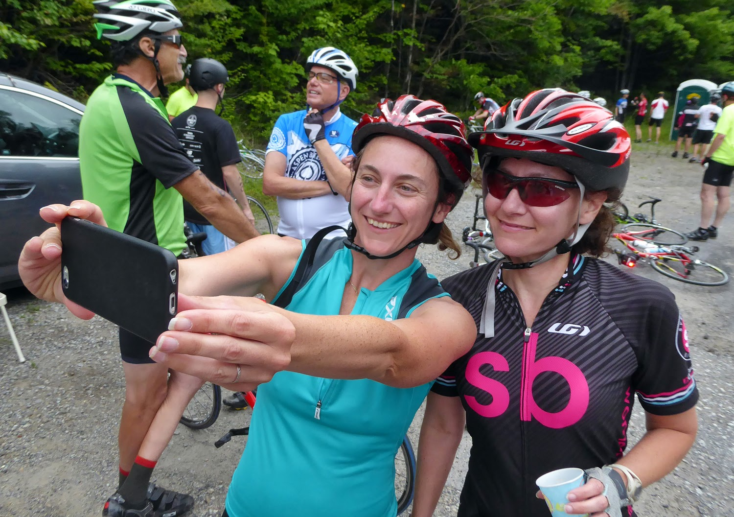 Friends stop for selfie at one of the rest stops. Copyright by Dave Kraus/ Krausgrafik.com