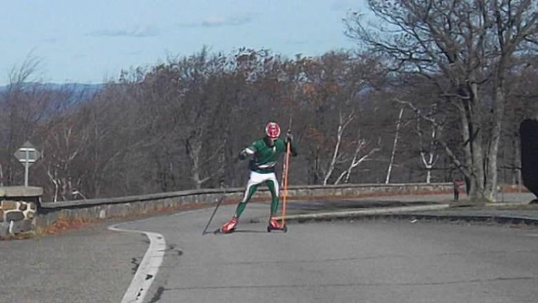 Dave Paarlberg-Kvam of Manchester, Vt. on Prospect Mountain highway.
